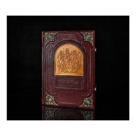 Книга «Библия» в кожаном переплёте с эмалевыми уголками и книжными замками