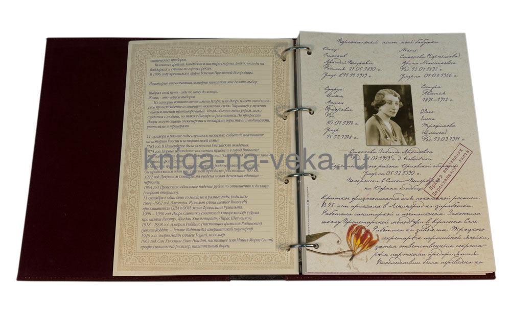 """Родословная книга """"Эрмитаж"""" (кожа). Образец заполнения персонального листа."""