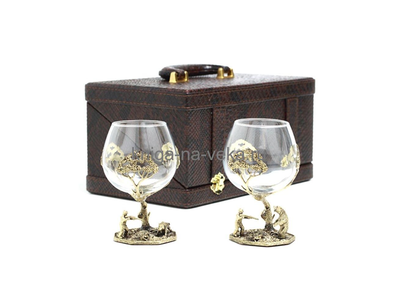 Набор бокалов для коньяка  «Охота/Рыбалка» в подарочном кейсе